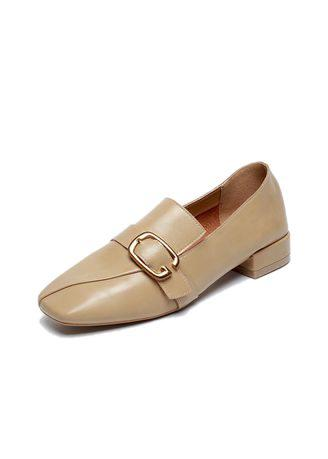 Women's Leather Loafer Comfort Buckle Slip On Shoes