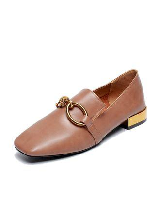 Women's Leather Loafer Slip On Shoes Comfort Buckle