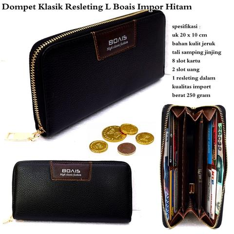 Dompet resleting style L boais import hitam