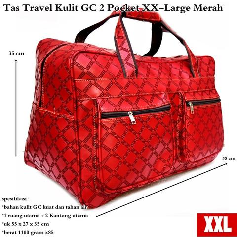 Obral tas travel kulit GC 2 pocket XX – large merah