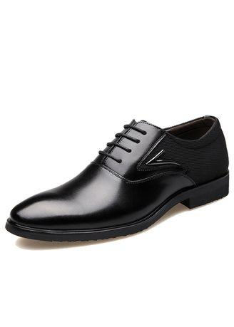 Men Genuine Leather Pointed Toe Dress Shoes
