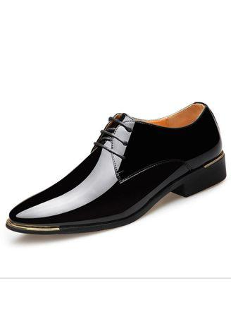 Men Glossy Dress Shoes White Flat