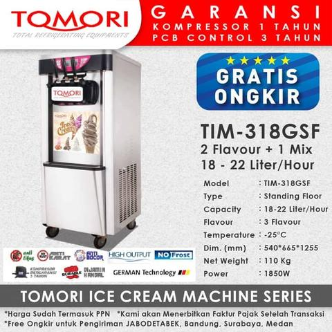 Mesin Es Krim 3 Tuas (Rainbow Ice Cream) TOMORI TIM-318GSF