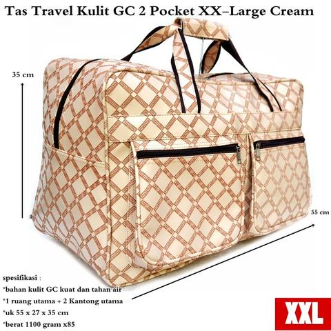 Obral tas travel kulit GC 2 pocket XX – large cream