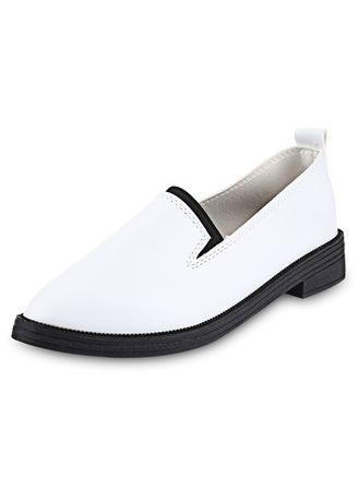 Pointed Toe Solid Color Ladies Slip On Leather Shoes