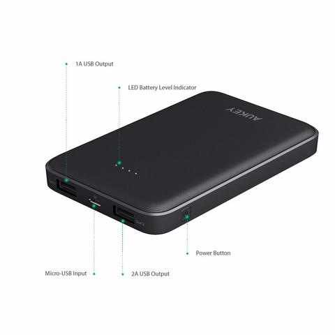 Power Bank AUKEY PB-N50 Compact Slim 10000mAh Dual USB Ports Original