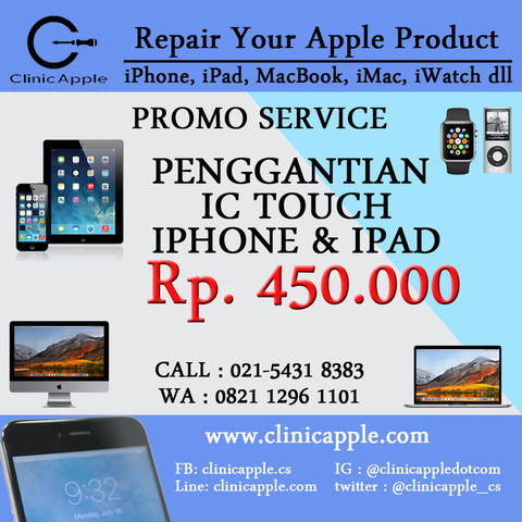 Promo Service Ganti IC Touchscreen iPhone, iPad