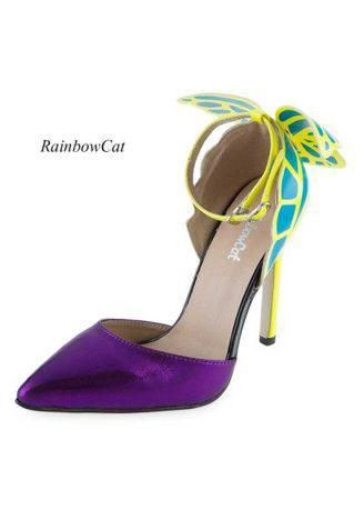 RainbowCat Sexy Color Block Butterfly Design Ladies High Heel Leather Shoes