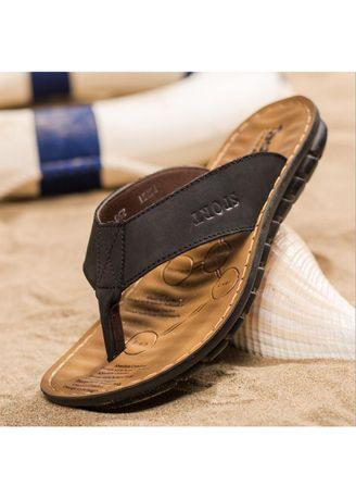 Summer Men's Cowhide Flip Flops Shoes