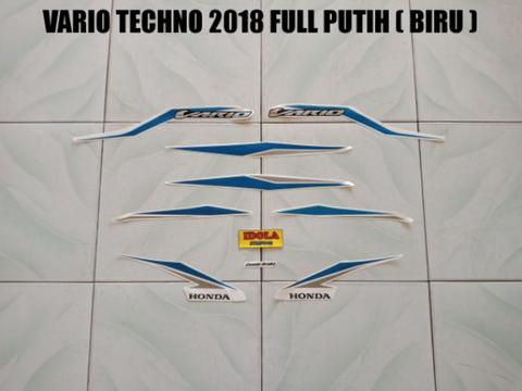 Striping Vario Techno 2018 Full Putih ( Biru )