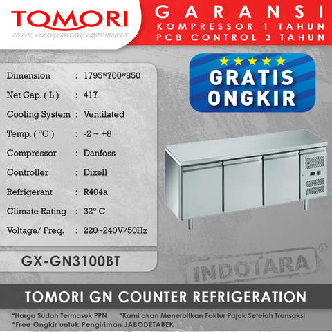Tomori GN Counter Refrigeration GX-GN3100BT