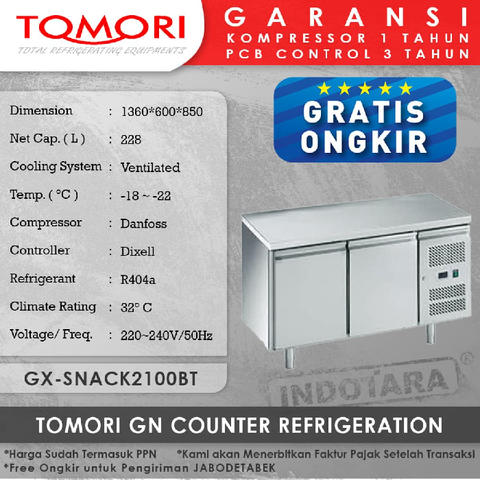 Tomori GN Counter Refrigeration GX-SNACK2100BT