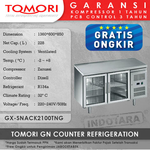 Tomori GN Counter Refrigerator GX-Snack2100TNG