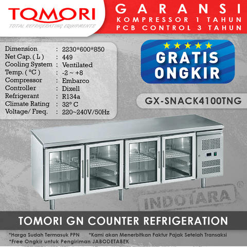 Tomori GN Counter Refrigerator GX-Snack4100TNG