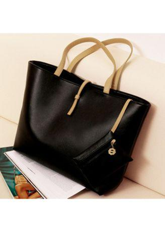 TT5 Tote Bag Wanita PU Leather Kulit Sintetis Basic Classic Simple Chic Tas Kerja