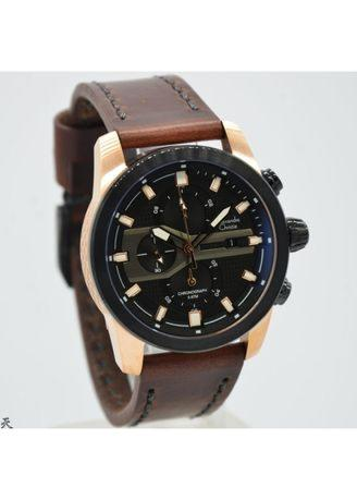 Alexandre Christie - AC 6270 - Jam Tangan Casual Pria Leather Strap - Brown