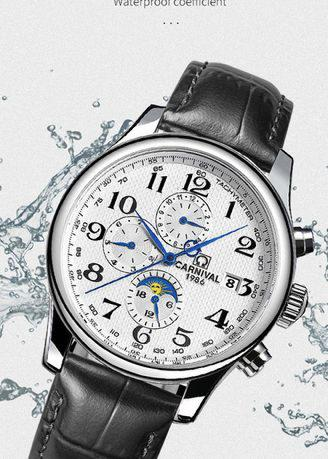 Black leather strap fully automatic mechanical chronographs watch.