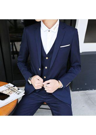 (Blazer+Pants+Vest) Men's Korean Suit Shine Patterns Casual Suits