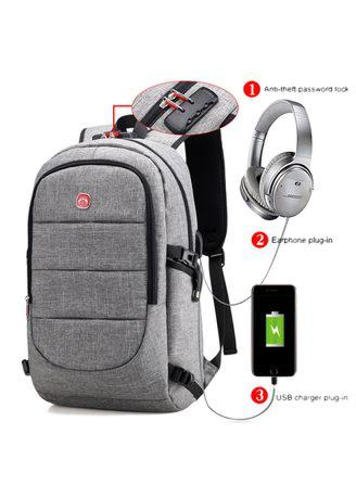 Fashion Backpack External USB Charging Bag with Password Lock