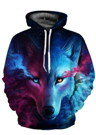 Fashion Cool Wolf Print Autumn Winter Fashion Casual Shirts For Men