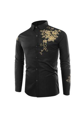 Fashion Lapel Rose Printing Casual Men Long-Sleeved Shirt Men