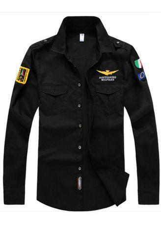 Men Air Force Flight Suit Casual Long-Sleeve Casual Shirts