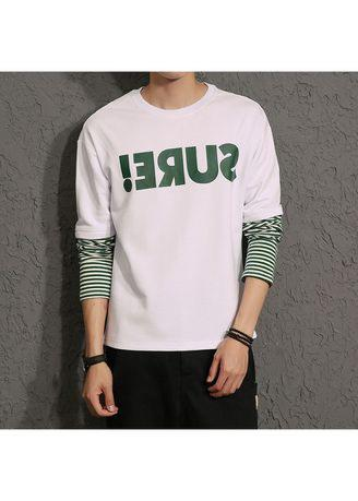 Men's Graphic Print Faux Twinset Stripe Panel Sweatshirt
