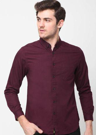MENTLI Solid Red Slim Fit Shirt