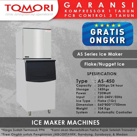 Mesin Pembuat Es Flake AS-450 TOMORI ICE FLAKE Maker