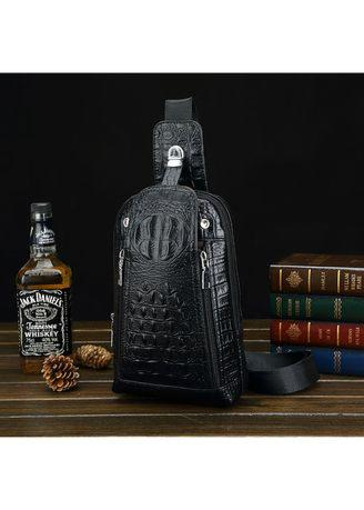 New Men's Chest Bag PU Leather Messenger Bag Fashion Small Backpack