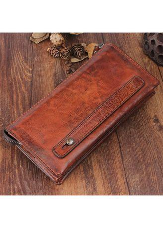 Original retro leather multi-function handmade long wallet