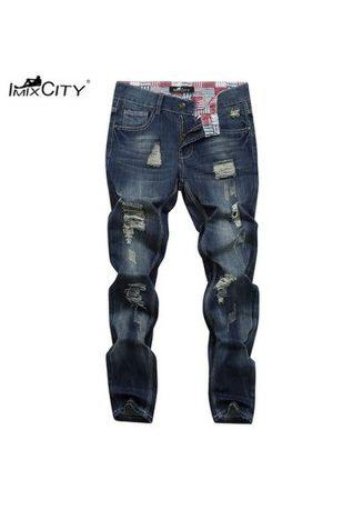 Teen Fashion Casual Style Broken Hole Pants