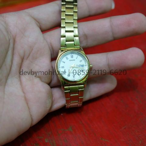 Jam Tangan Wanita Casio LTP V006G 9B Gold Stainless Steel Second