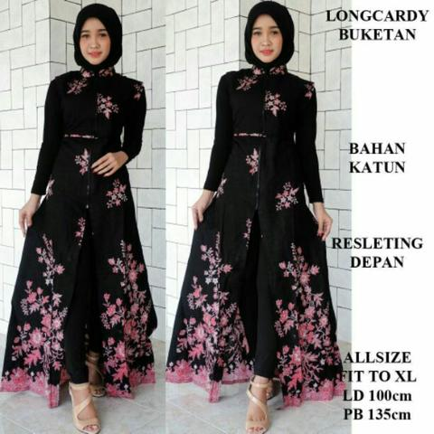 Long dress batik black flower