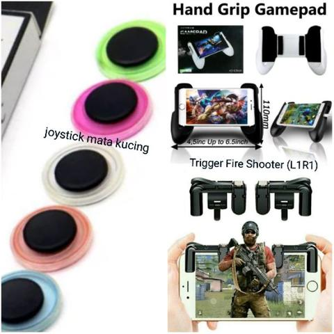 3in1 gamepad + Joystick mata kucing + Trigger shooter (L1R1) PUBG Android/IOS Phone