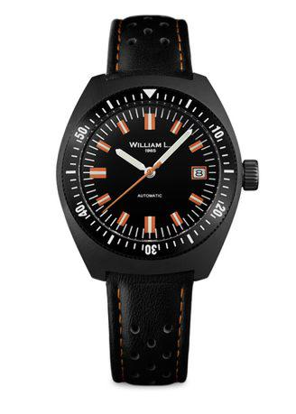 William L - AUTOMATIC VINTAGE DIVER 70'S STYLE - BLACK PVD AND BLACK LEATHER STRAP