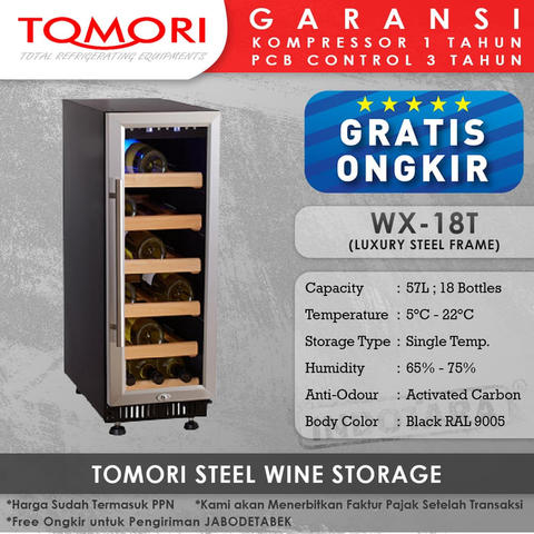 Wine Cooler | Tomori Wine Storage Steel WX-18T