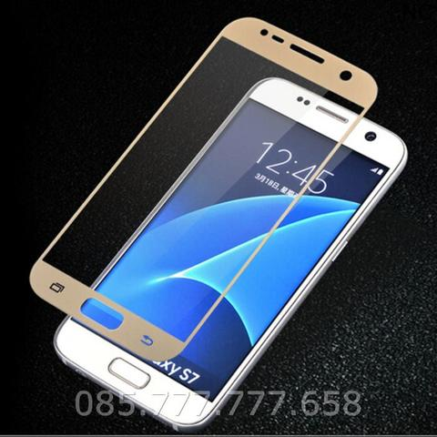 Tempered Glass Warna 3D Curved Full Samsung S7 Flat (Anti Gores Kaca)
