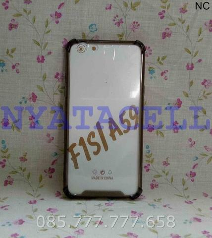 Case Antikrack Fiber Oppo F1S A59 Selfie /Soft Casing Cover Clear Slim - Putih