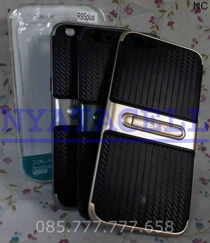 Case Delkin Verge Stand Oppo F3 Plus R9S+ Classic Soft Carbon + Hard
