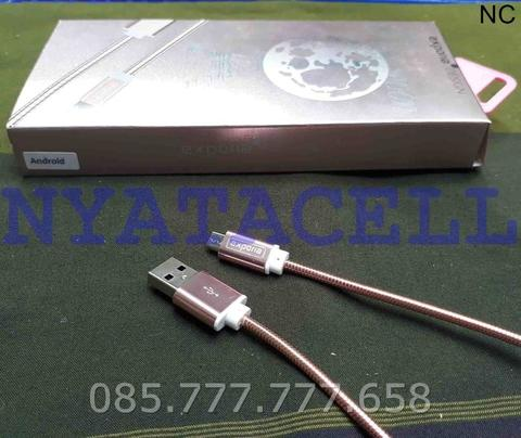 Kabel Data Exporia Metal Chrome Micro USB /Speed/Fast/Remax/Charger - Hitam