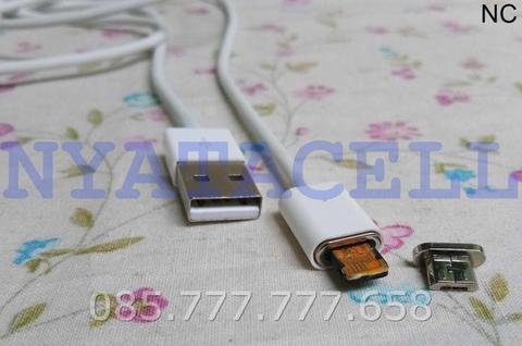 Kabel Data Magnetic 2 IN 1 IPhone 5 Micro USB 100cm Cable Android 6 7 - Putih