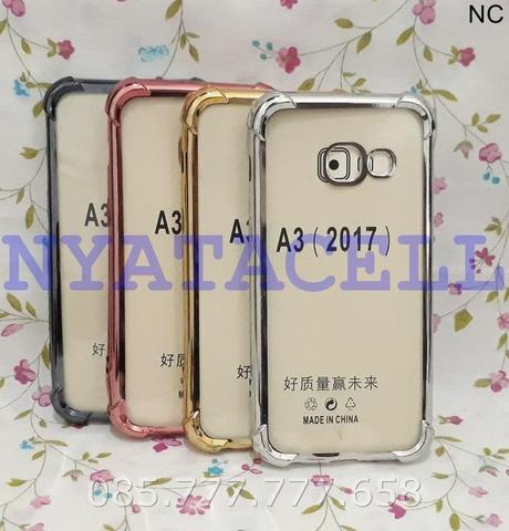 Soft Case Anticrack List Chrome Samsung A3 2017 A320/Hard Casing Cover