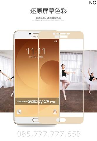 Tempered Glass Warna 3D Curved Full Samsung C9 Pro (Anti Gores Kaca)