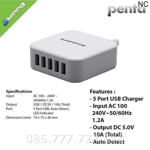 Charger Hippo Penta 5 Port USB 10A /Travel Adaptor Original/Batok SP