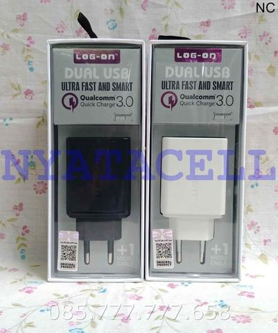 Charger Log On LO-C30 Qualcomm 3.0 Dual USB /Adaptor LED Original