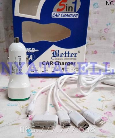 Charger Mobil Better 5in1 2 Port 3.1A /Car/Saver/2 USB Cable/Micro