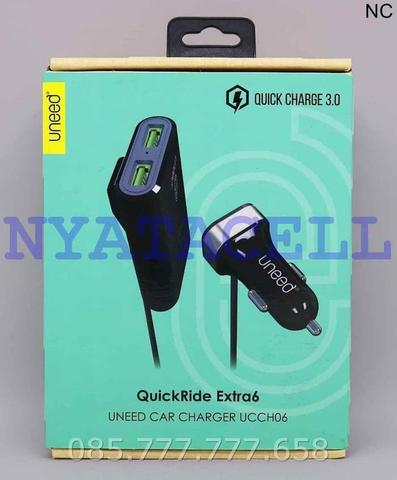 Charger Mobil Uneed QuickRide Extra 6 UCCH06 - Quick Charge 3.0 Saver - Hitam