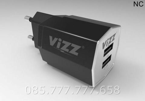 Charger Vizz VZ-28 2 Port 2.1A Micro Cable USB /Fast Charge Led - Hitam
