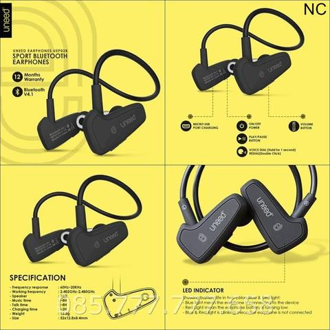 Headset Bluetooth Uneed UEP02B Sport Earphones Handsfree - Hitam